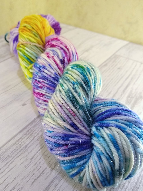 Rainbow Drizzle, Silver Sparkle DK