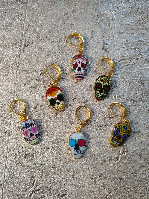 Candy Skull Stitch Markers (3)
