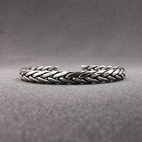 Plaited men's cuff bangle