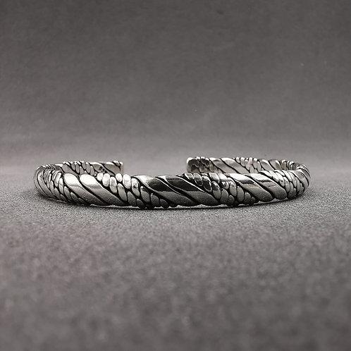 Plaited & twisted men's cuff bangle