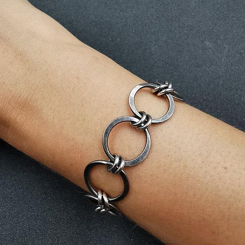 Hammered link bracelet.