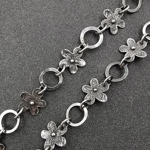 Oxidised link and flower necklace.