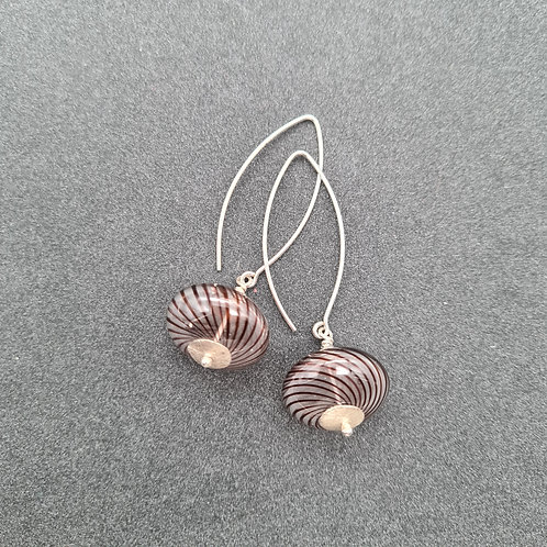 Hollow glass bead drop earring
