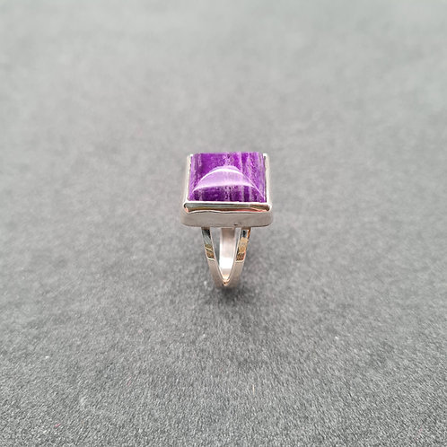 Sugilite and silver ring.