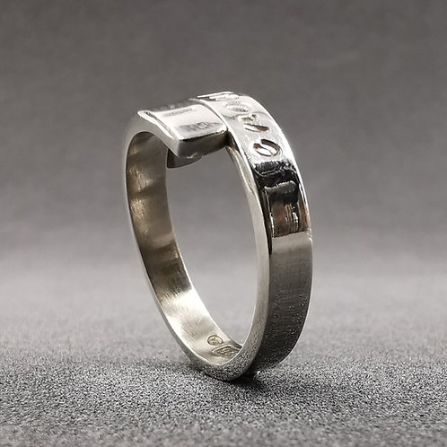 Open band word ring.