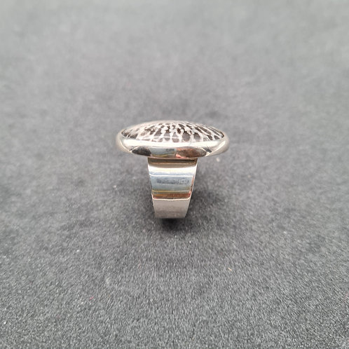 Stingray coral and silver ring