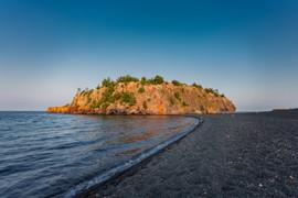 Island on Black Beach on Lake Superior.j