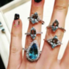 Aquamarine and blue topaz rings set in 1