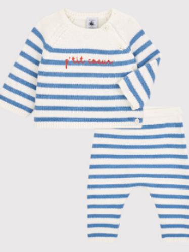 Ensemble 2 pces Marinière en tricot laine et cotton