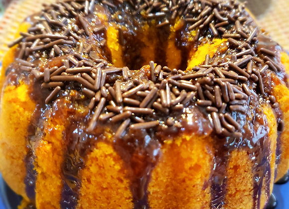 Carrot Bundt  Cake Covered with Chocolate