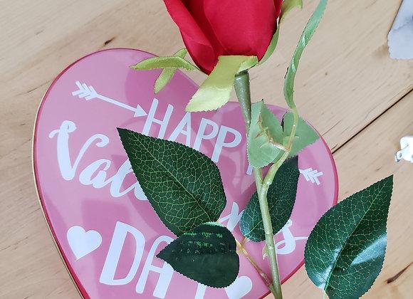 Combo Rose + Hearth with 12 brigadeiros + plastic rose