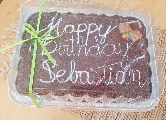Special Bday cake filled with White Brigadeiro and covered with Brigadeiro