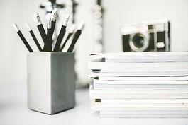 Magazine Pile & pencils