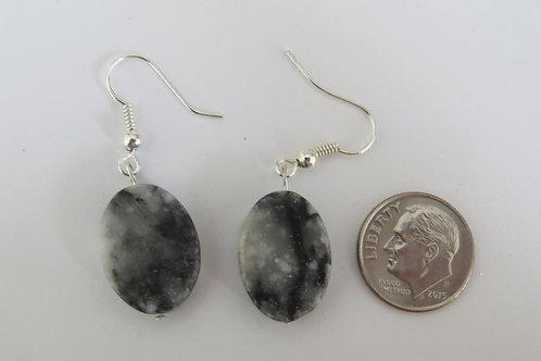 Oval marble earings