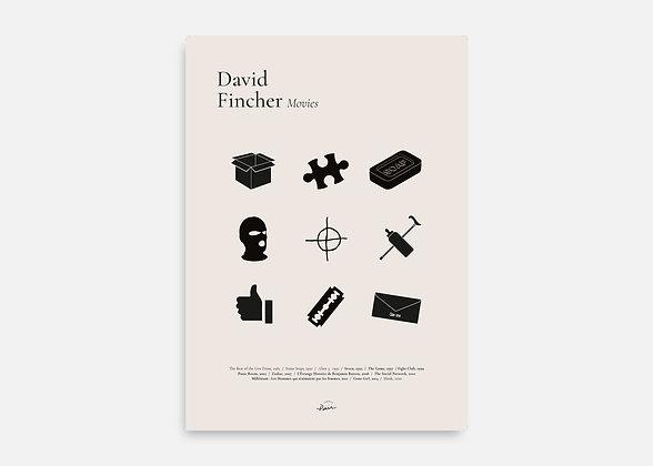 David Fincher Movies - Affiche minimaliste signée