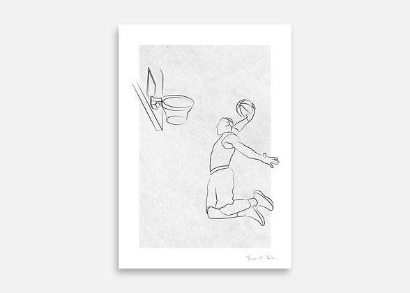 Basket-ball - Affiche minimaliste signée