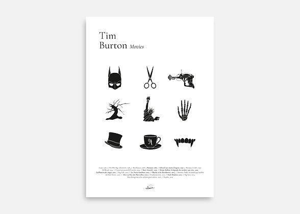 Tim Burton Movies - Affiche minimaliste signée