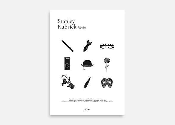 Stanley Kubrick Movies - Affiche minimaliste signée