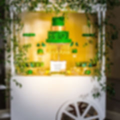 modern and unique 6ft event cart is a perfect display for sweets, florals, and even a mimosa bar!