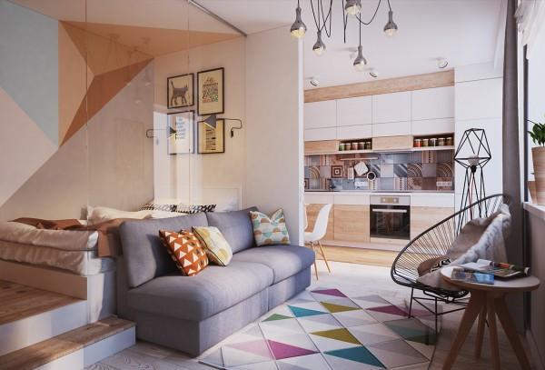 *בתמונה דירת סטודיו בלבוב, אוקראינה, עיצוב: גריפט, קריאטיב גרופ