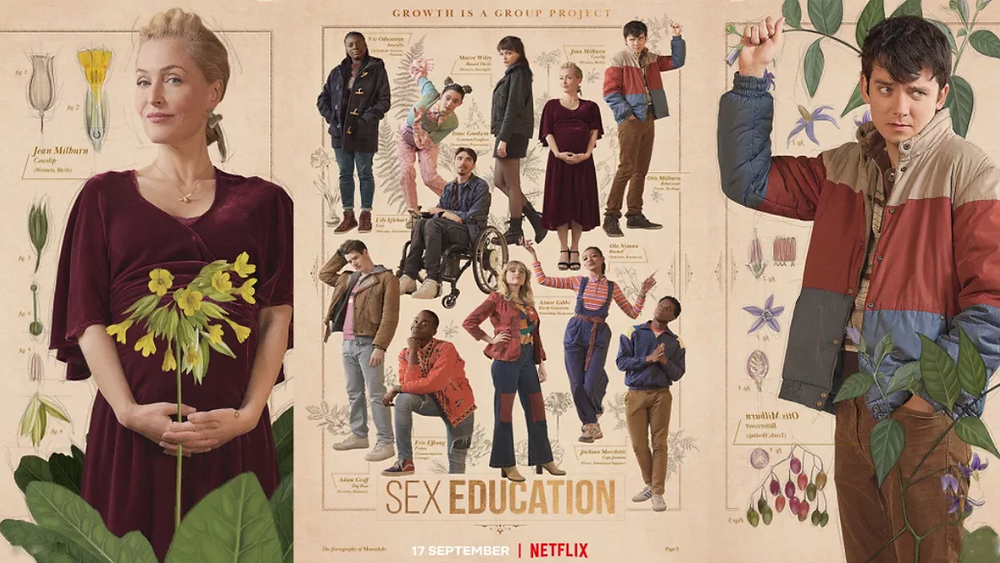Poster for Netflix show Sex Education with Gillian Anderson and Asa Butterfield up close