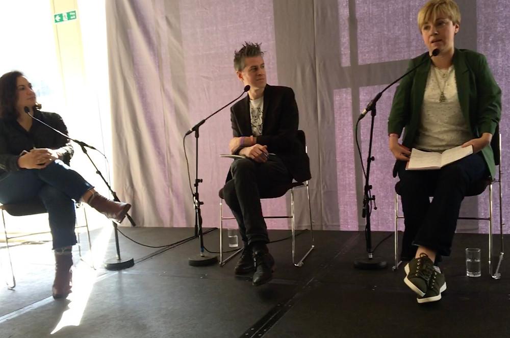 Aceil Haddad and Koen Dedoncker looking at Ellen Bird speaking