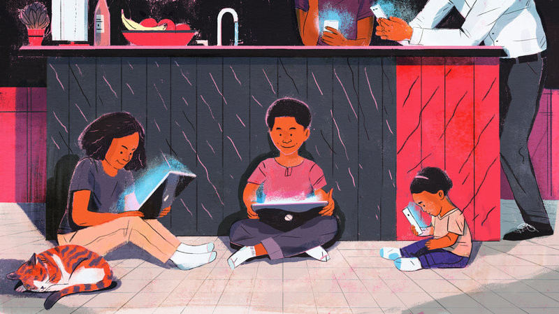 Drawing of kids sitting on the floor with tablets and computers and adults on mobile phones