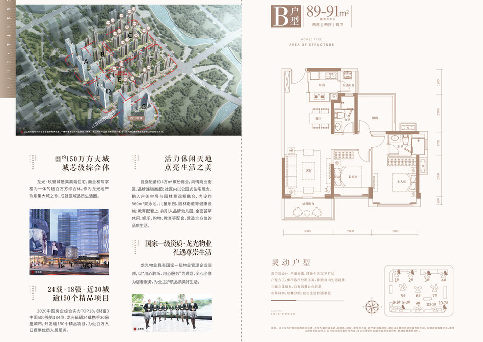 龙光玖誉城F區B戶型89-91m2房2廳2廁.jpg