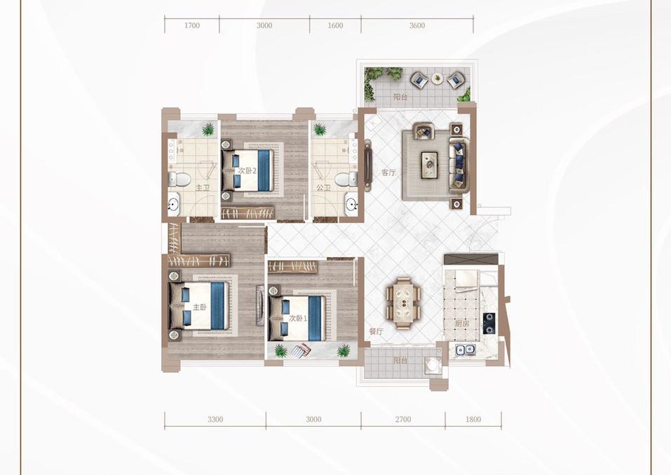 龙光玖誉城C區#6#8#9-B2戶型99m3房2廳2廁.jpg