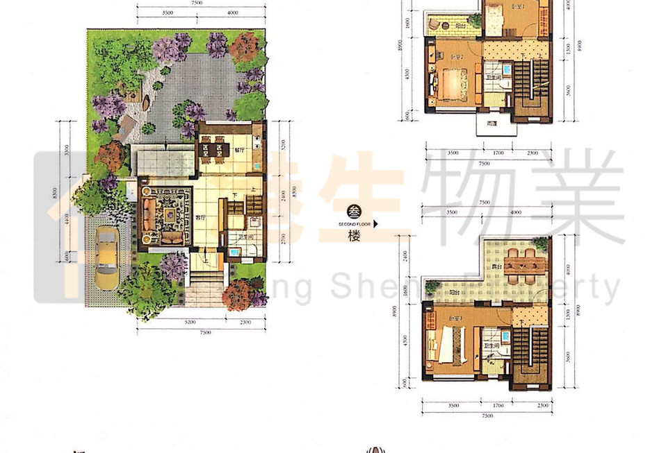 K-01 130㎡三四房两厅稀缺双拼别墅 双阳台 双露台 送花园 送车位 送装修