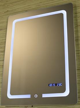 Зеркало прямоугольное с LED подсветкой, часами и температурой