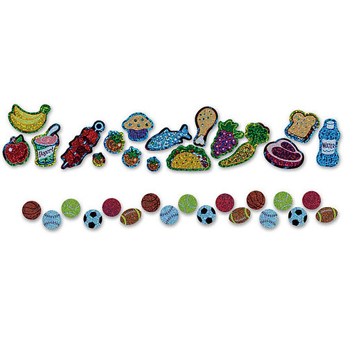 Nutritious & Delicious Sparkle Stickers® - 1/2 in. Each - 34 Total