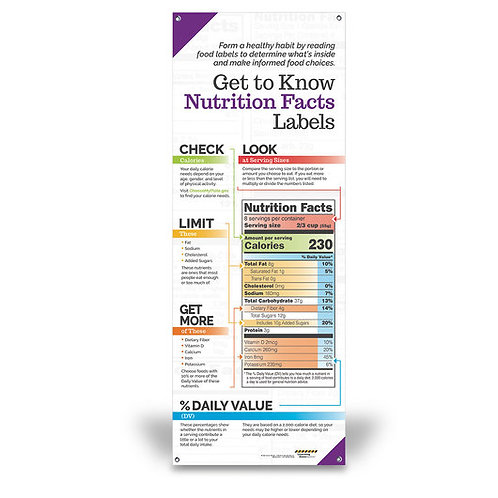 Get to Know Nutrition Facts Labels - Vinyl Banner without Stand - 24 in. x 63 in