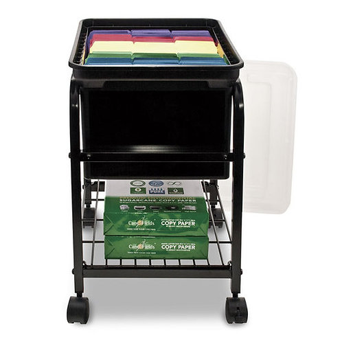 Metal Rolling Hanging File Cart with Lid