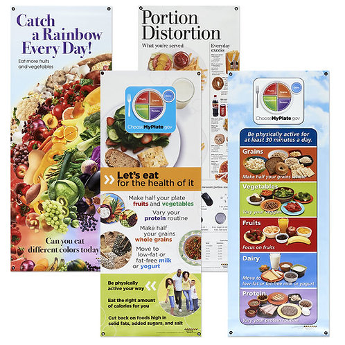Complete Set of Healthy Vinyl Banners with Stand