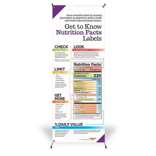 Get to Know Nutrition Facts Labels - Vinyl Banner with Stand - 24 in. x 63 in.