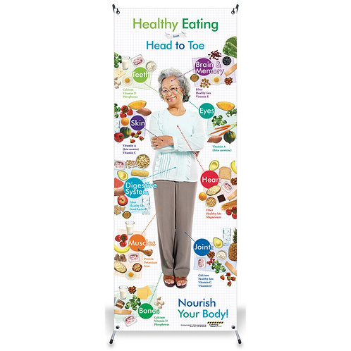 Healthy Eating from Head to Toe for Older Adults Vinyl Banner with Stand