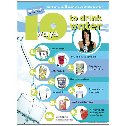 10 Ways to Drink Water Poster - 18 in. x 24 in.