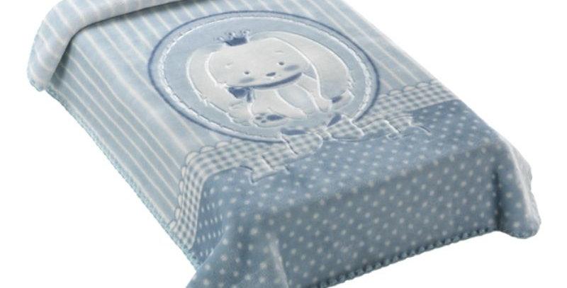 Cobertor Premium Estampado com Relevo Elefante Azul Colibri