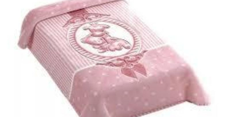Cobertor Premium Estampado com Relevo Camafeu Rosa Colibri