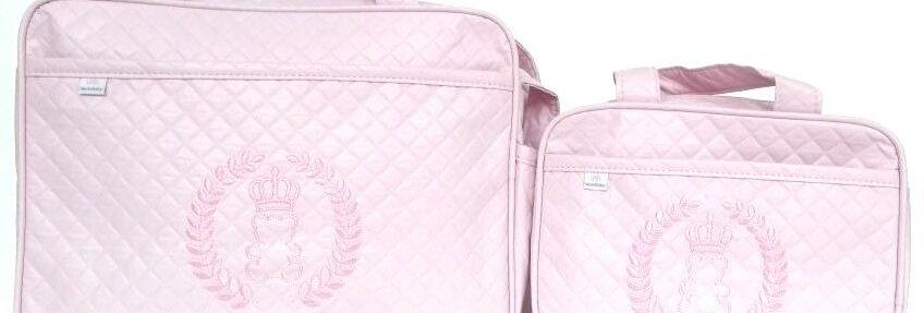 Kit 2 Bolsas Maternidade Coroa Rosa Claro
