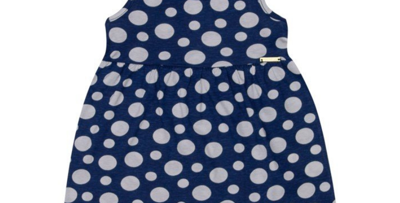 Vestido Bebê Bolas Azul Marinho | Hrradinhos