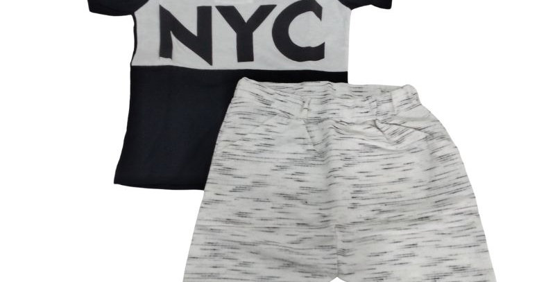 Conjunto Infantil Bermuda Moletom Saruel Mescla e Camiseta NYC | Hrradinhos