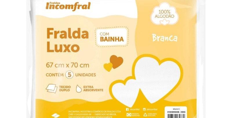 Fralda Luxo com Bainha Branca - Pacote com 05 unidades | Incomfral