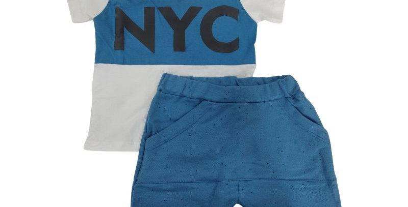 Conjunto Infantil Bermuda Moletom Saruel Azul e Camiseta NYC   Hrradinhos