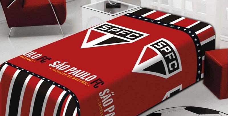 Manta Soft São Paulo Tricolor Oficial Solteiro   Jolitex