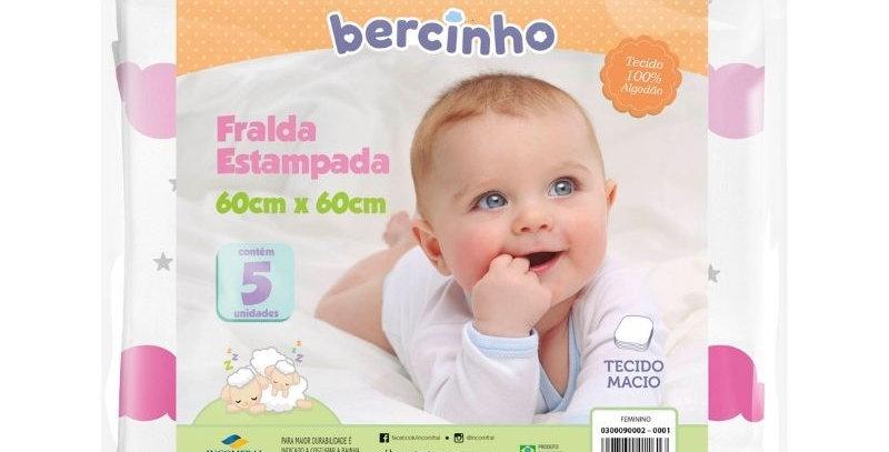 Kit Fralda Bebê Feminino Branco e Rosa Sortido (5 unidades) | Bercinho