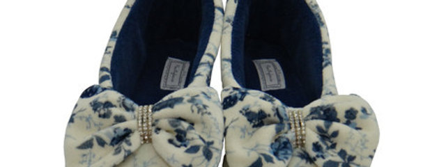 Pantufa Sapatilha Top Strass Floral Azul