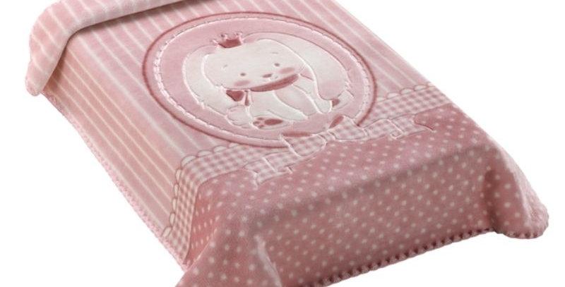 Cobertor Premium Estampado com Relevo Elefante Rosa Colibri