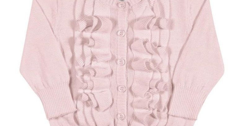 Casaco Cardigan Tricot Infantil Rosa - Tip Top